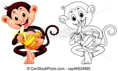 Animal outline for monkey eating banana.
