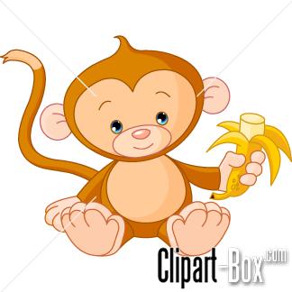 CLIPART MONKEY EATING BANANA.