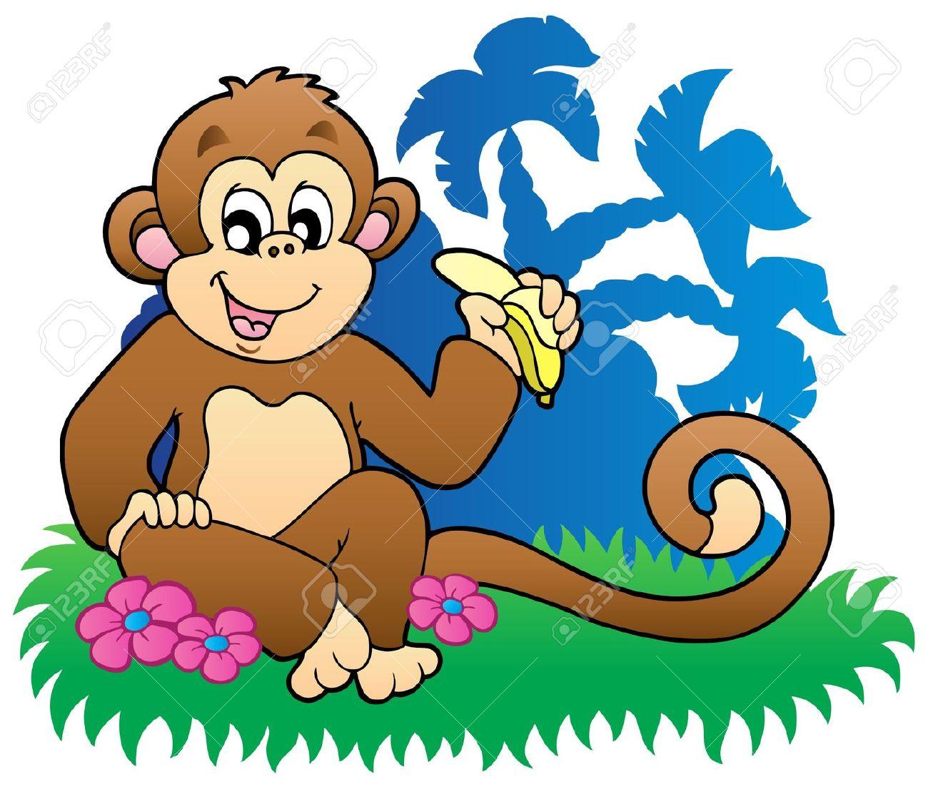 Monkey Eating Banana Near Palms Royalty Free Cliparts, Vectors.