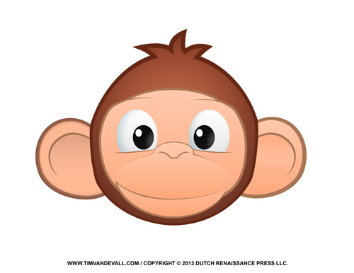 Cute Monkey Face Clipart.