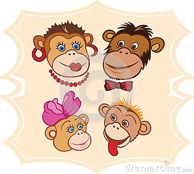 Monkey Family Clipart.