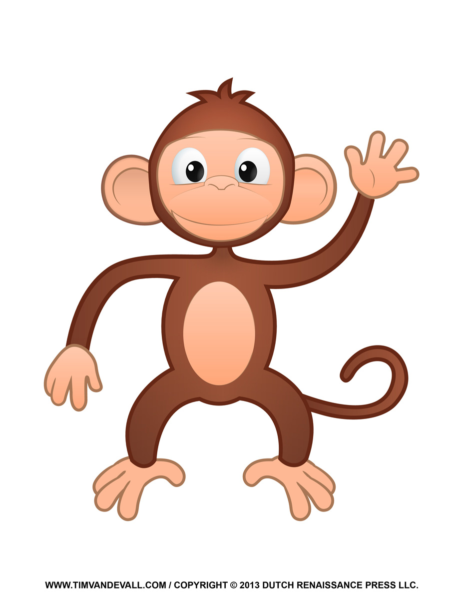 Printable Monkey Clipart, Coloring Pages, Cartoon & Crafts for Kids.