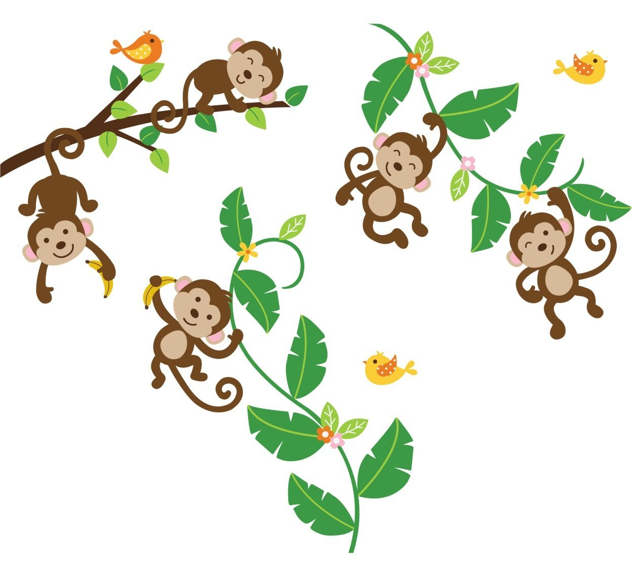 Monkey swinging from tree clipart.