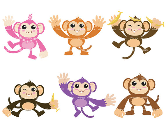 Colorful Sock Monkey Clipart.