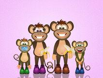 Monkeys Family Stock Illustrations.