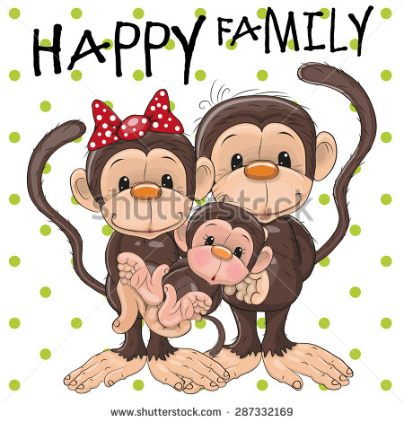 Monkey Family Stock Images, Royalty.