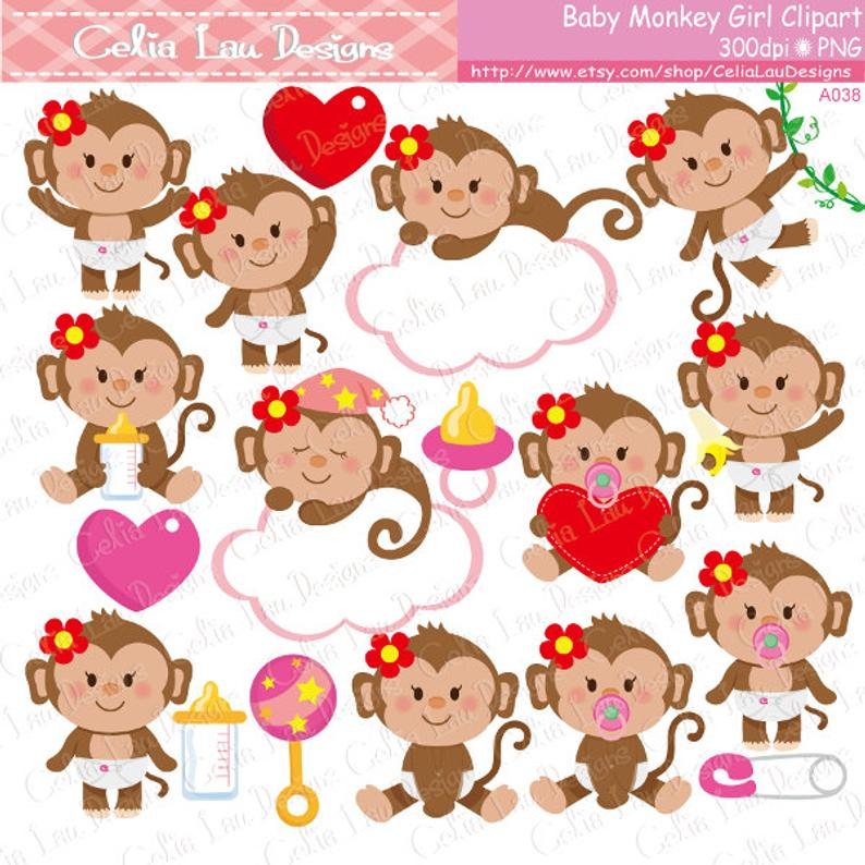 Baby Monkey Clipart, Cute Monkey Baby Girl Clipart.