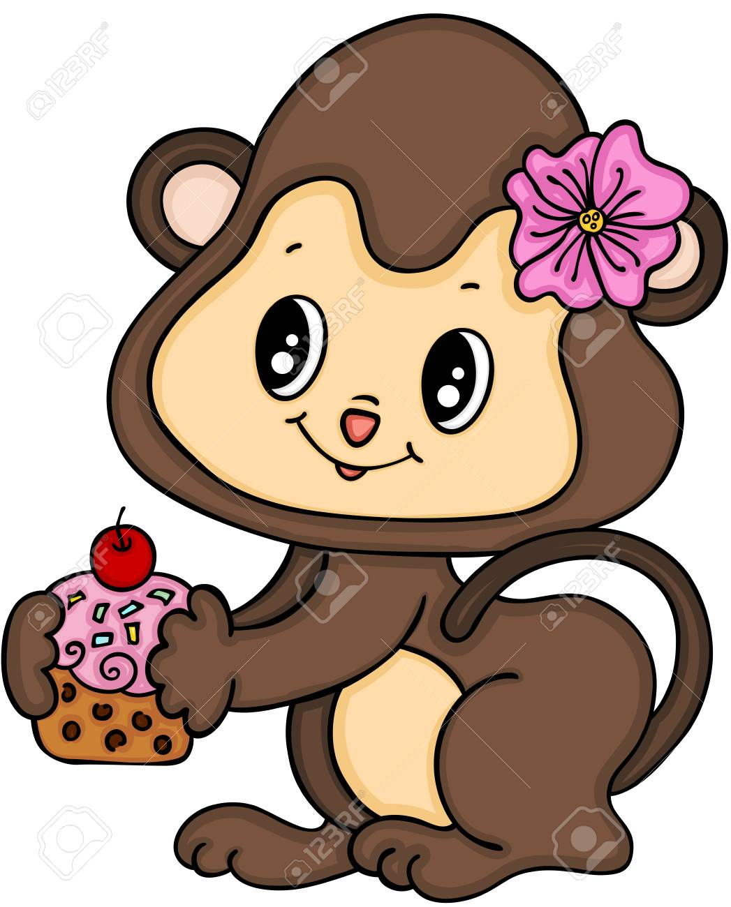 Monkey girl eating cupcake..