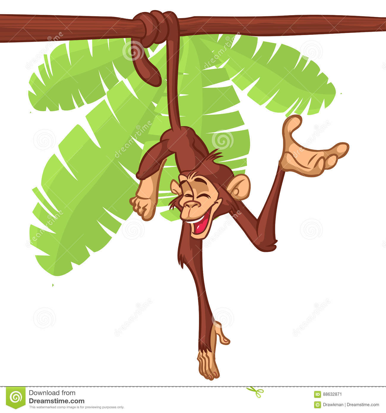 Cartoon Monkey Hanging From The Tree On Its Tail. Vector.