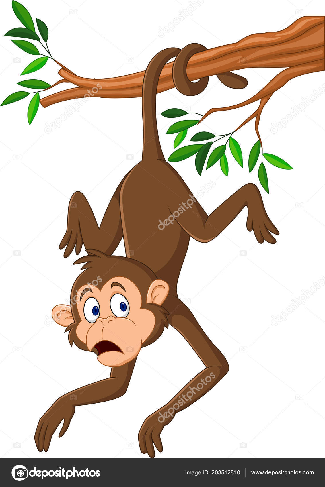 Vector: monkey hanging by tail clip art.