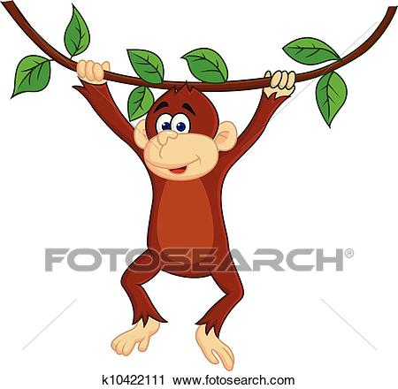 Funny monkey hanging Clipart.