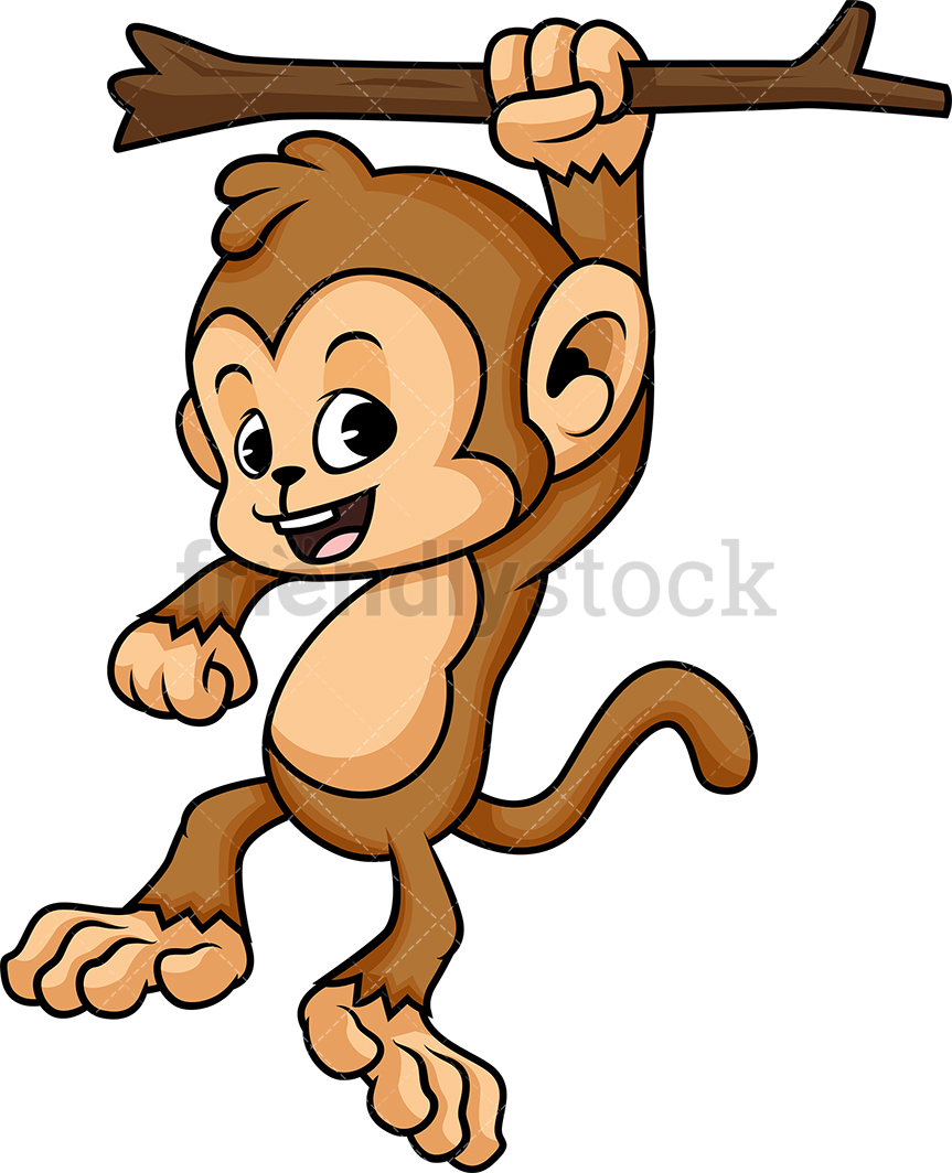 Monkey Hanging From Tree Branch.