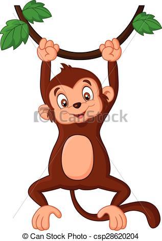 Cartoon monkey hanging in tree.