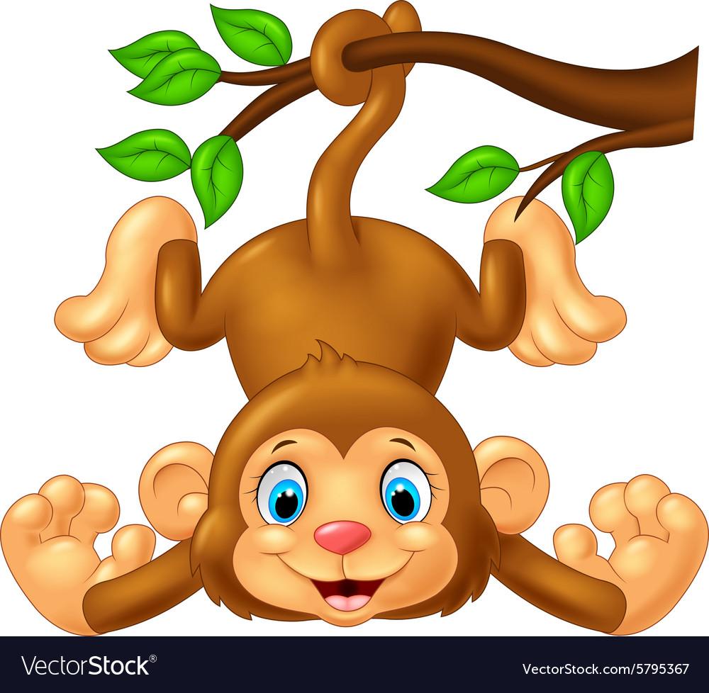 Cartoon cute monkey hanging on tree branch.