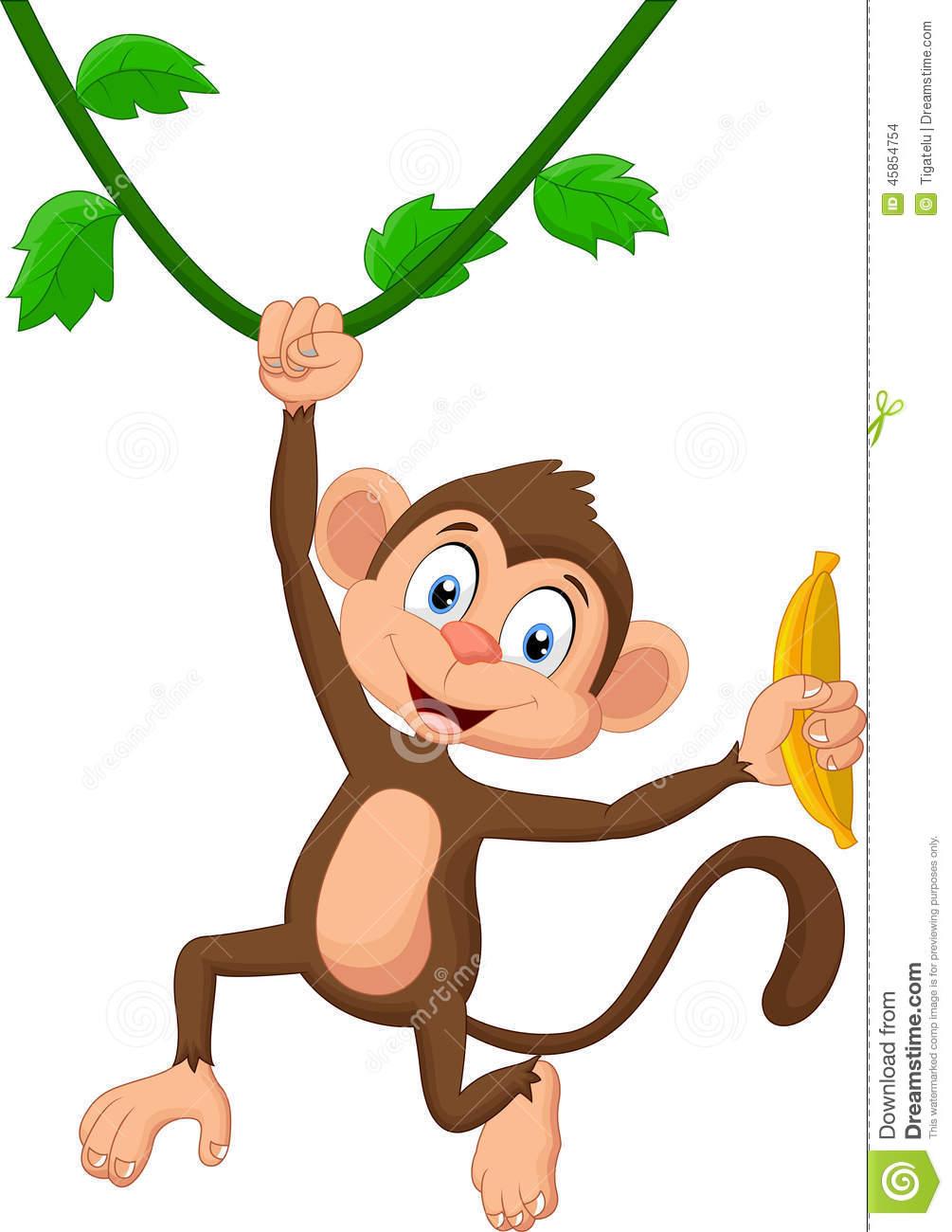 Cute Cartoon Monkey Hanging From A Tree, Swinging Tree Clip.