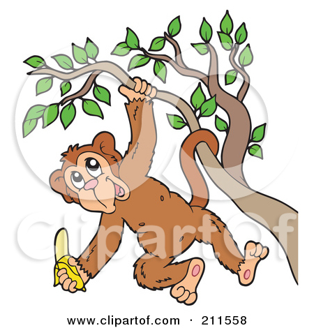 monkey hanging from tree clipart #14