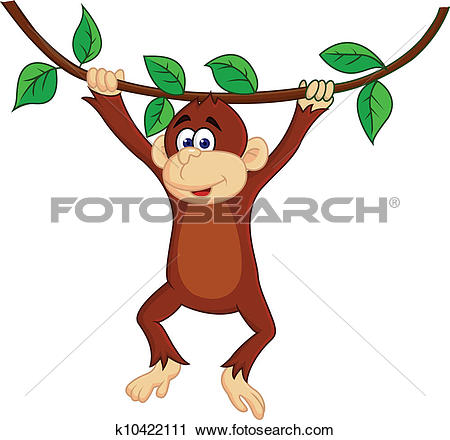 Clipart of Monkey Hanging in Tree k20249062.