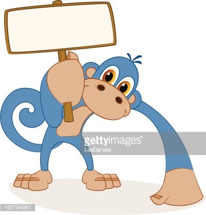 Monkey holding a blank sign Clipart Image.