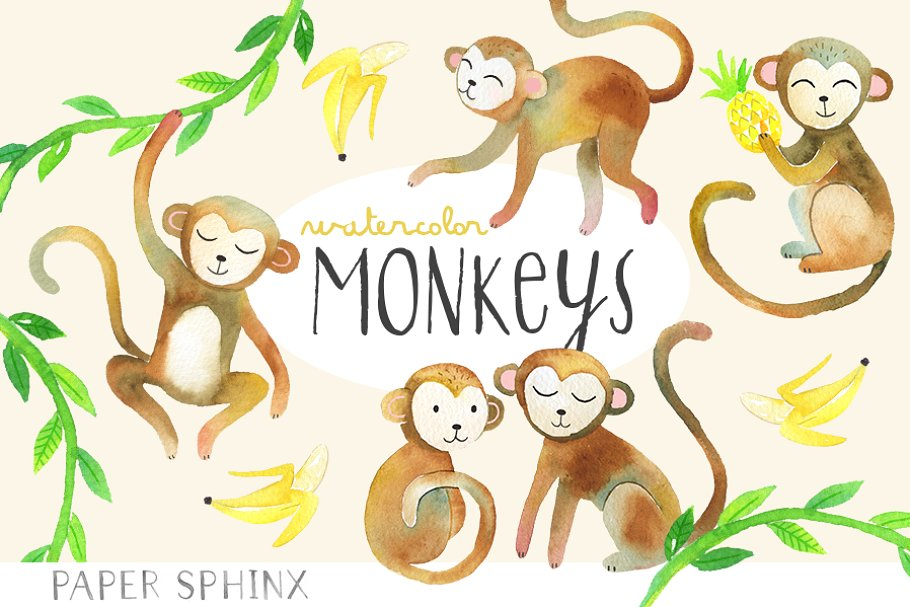 Watercolor Monkeys Clipart Pack.