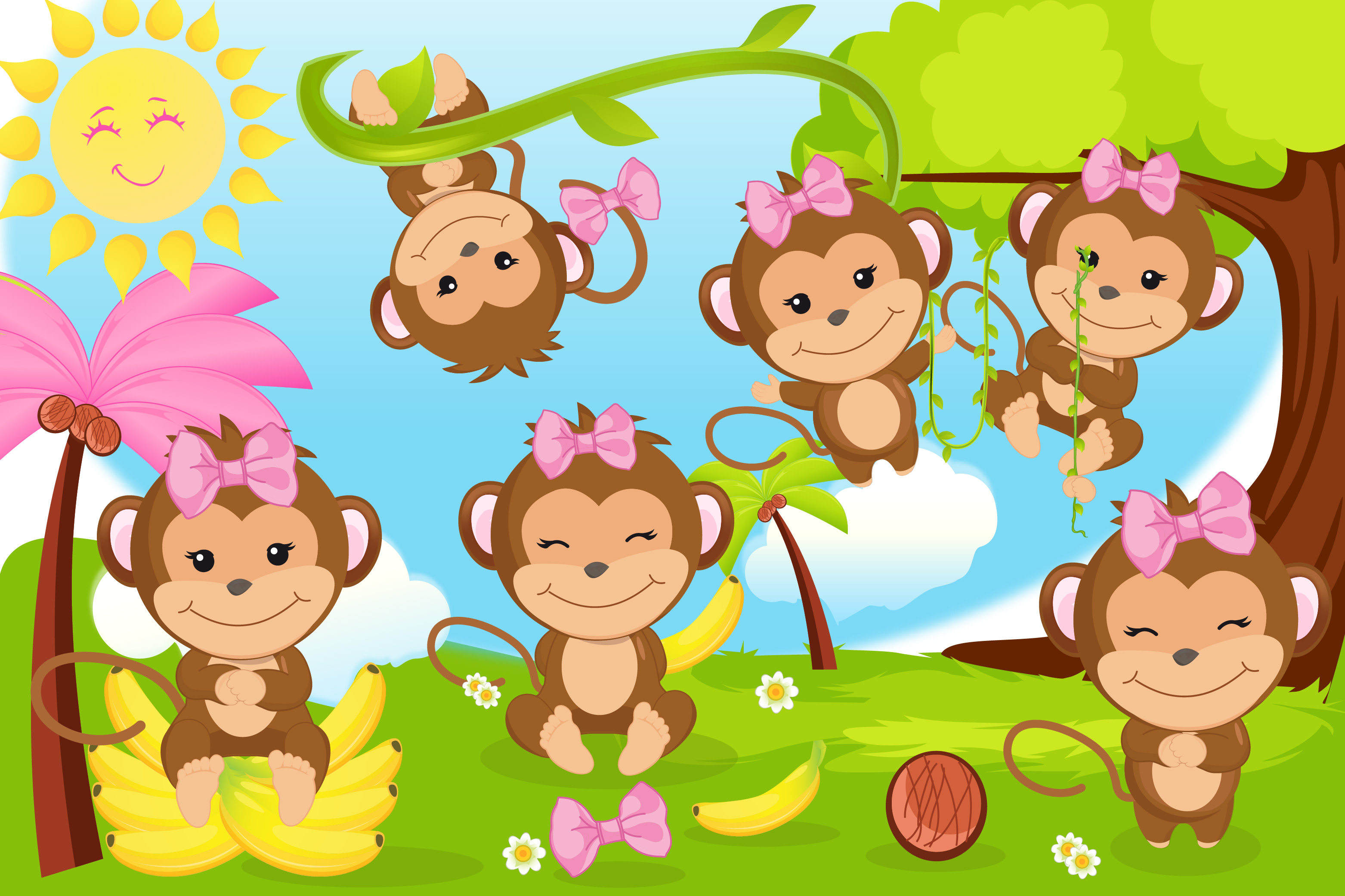 Monkey clipart, Monkey girl illustrations.