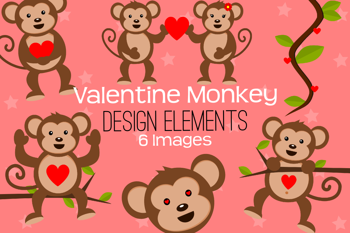 Valentine Monkey Graphics, Illustrations, Clipart.