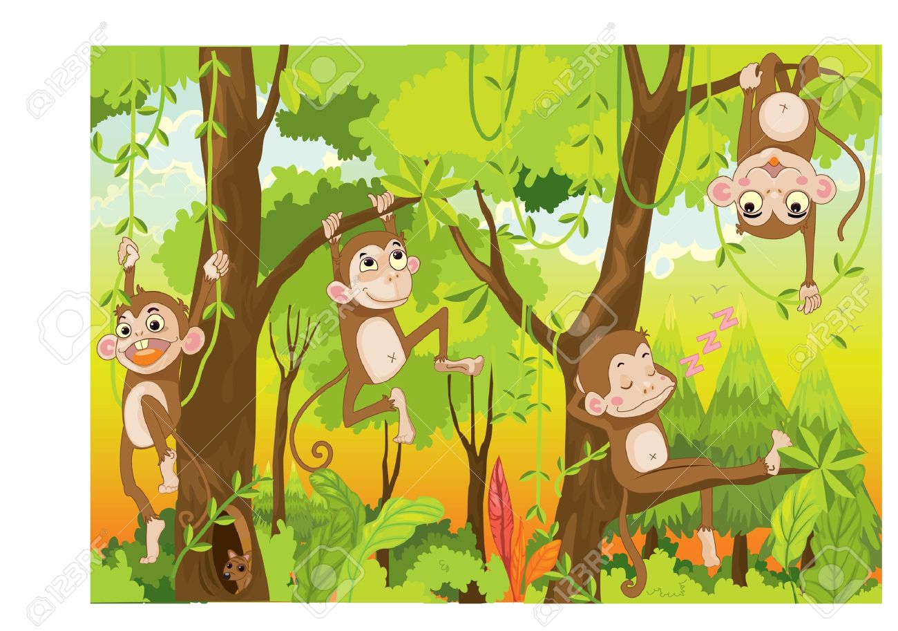 Illustration Of A Monkey In A Jungle Royalty Free Cliparts.