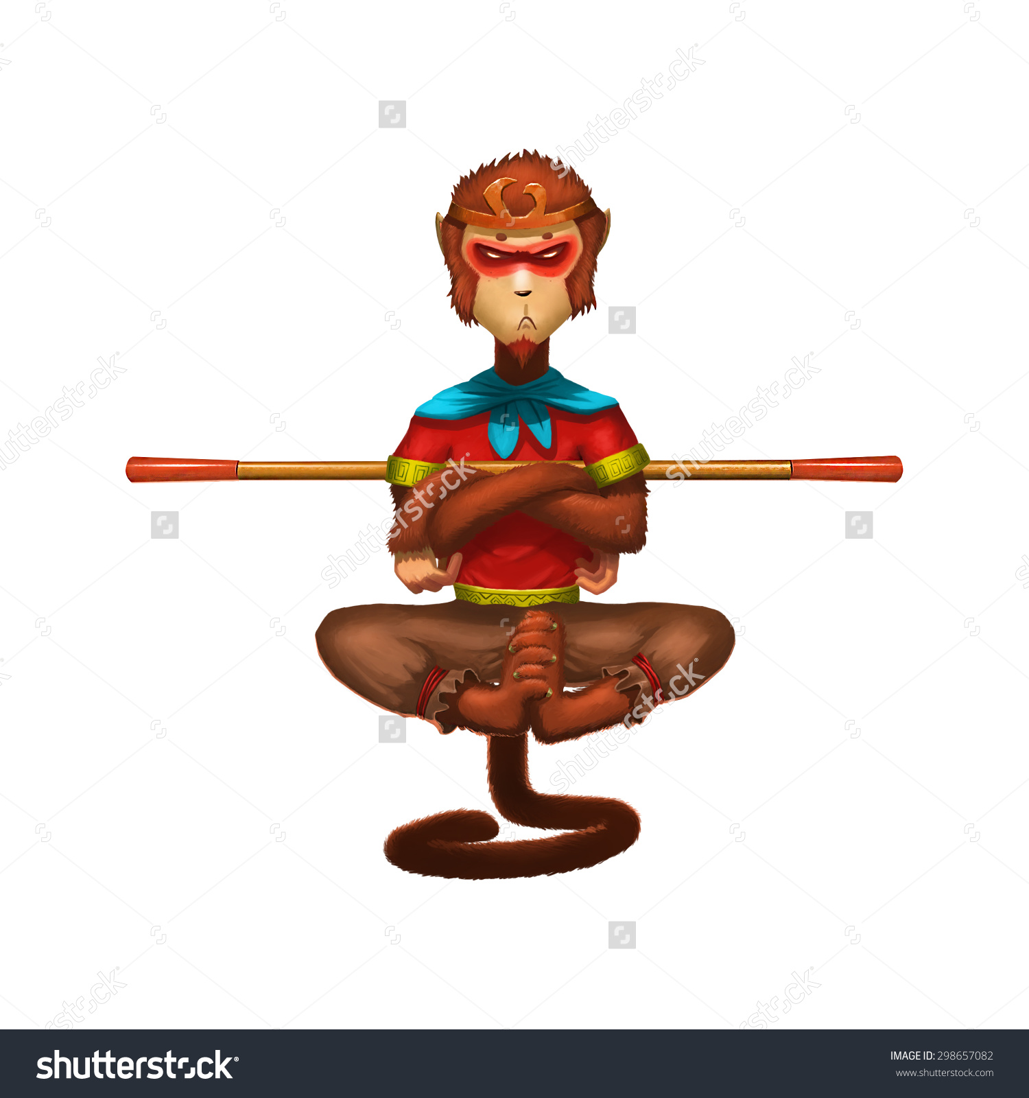Illustration Monkey King Hero Back Element Stock Illustration.