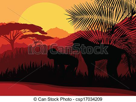 Vector Clipart of Monkey family in Africa wild nature mountain.