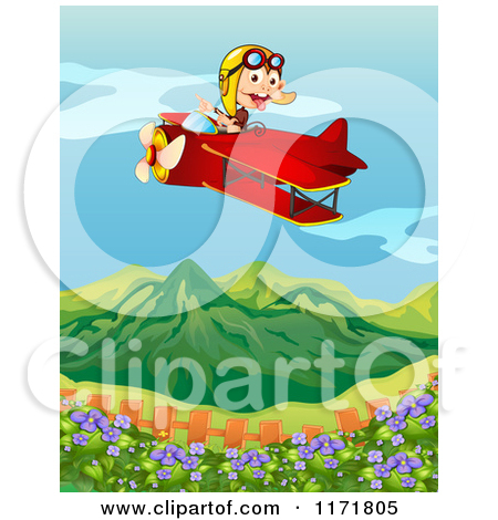 Cartoon of a Monkey Flying a Biplane over a Garden and Mountain.