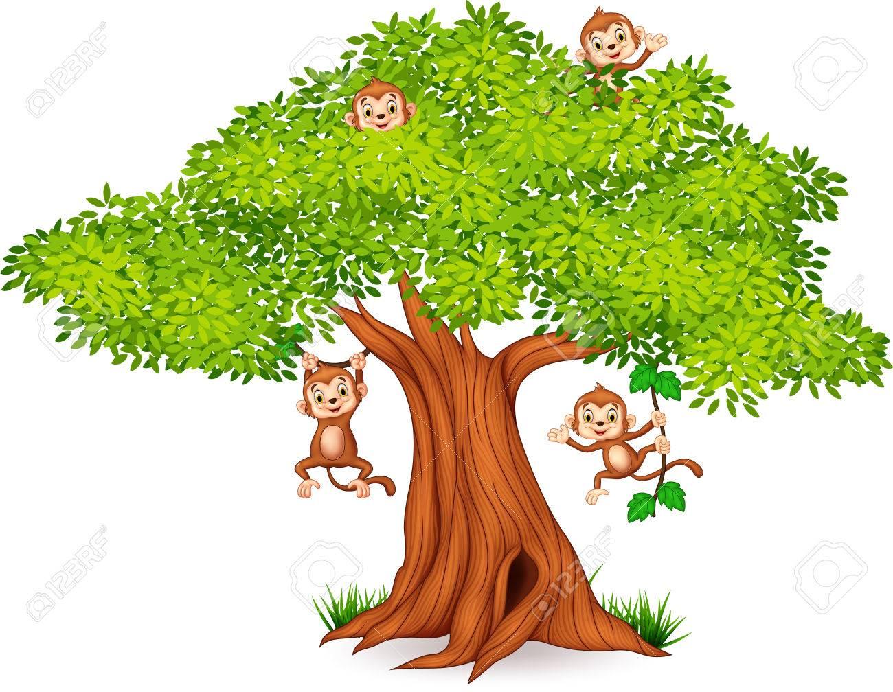 Vector illustration of Happy little monkey hanging on tree.