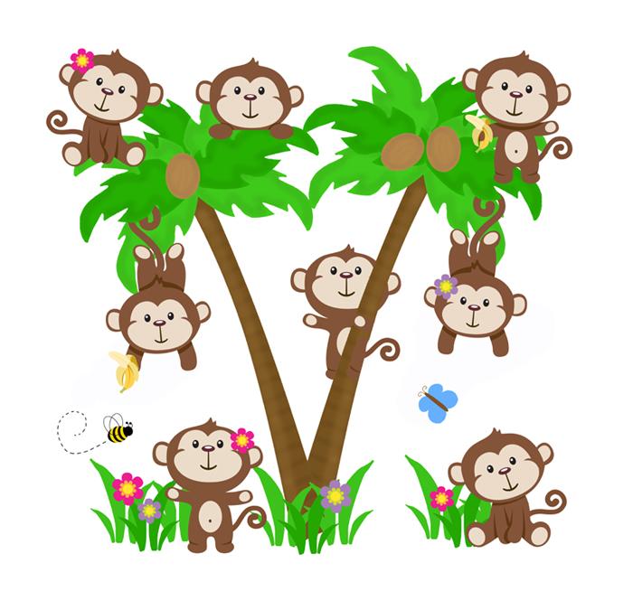 Monkey In A Tree Clipart.