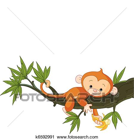 Baby monkey on a tree Clipart.