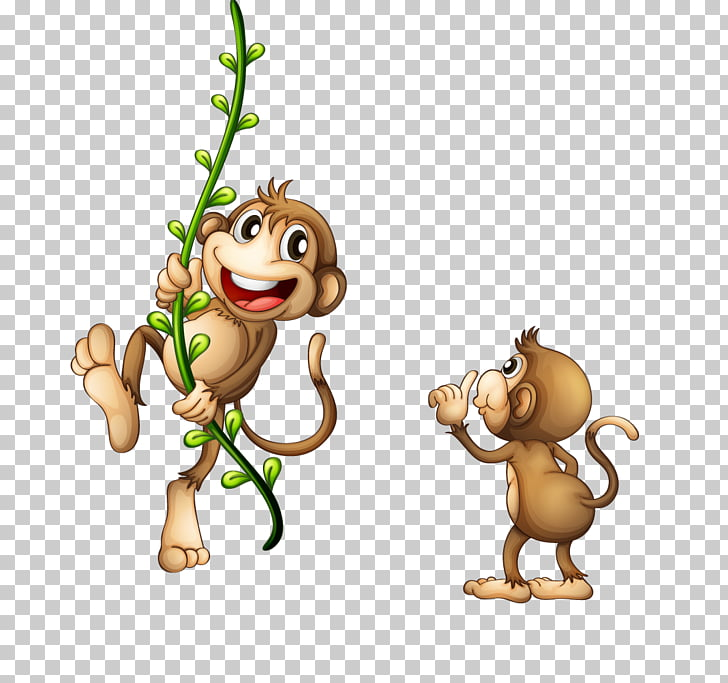 Monkey Vine , Brown monkey holding green branches PNG.