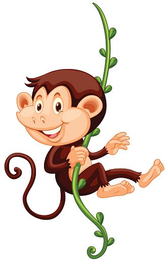 Little monkey climbing up the vine Clipart Image.