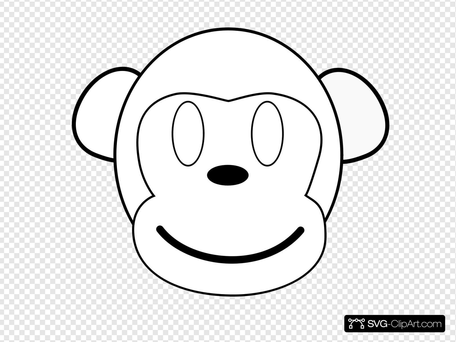 Monkey Outline Happy Clip art, Icon and SVG.
