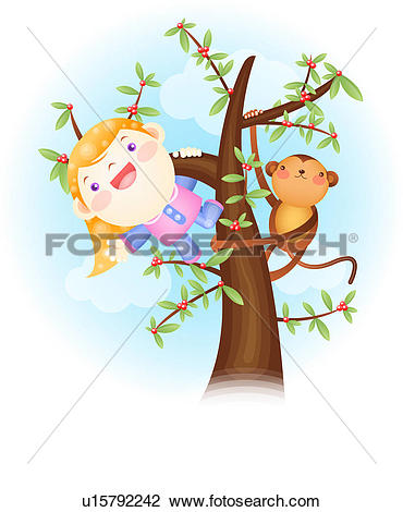 Clip Art of people, tree, cloud, sky, monkey, imagination.