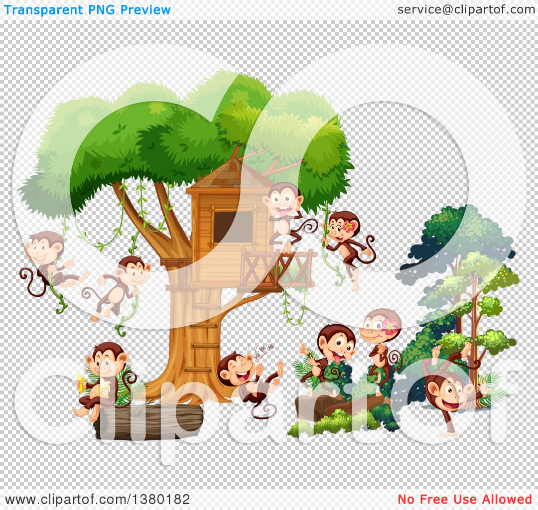 Clipart of Happy Monkeys Playing at a Tree House.