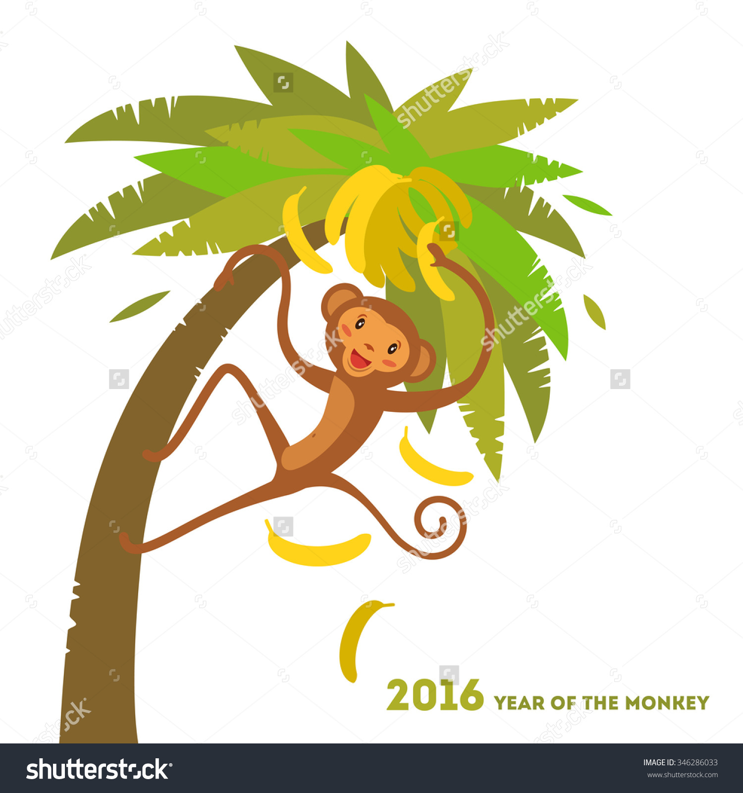 Vector Illustration Of A Monkey Sitting On A Palm Tree With.