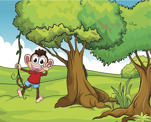 Pics Of Monkey Hanging From A Tree Clip Art, Vector Images.