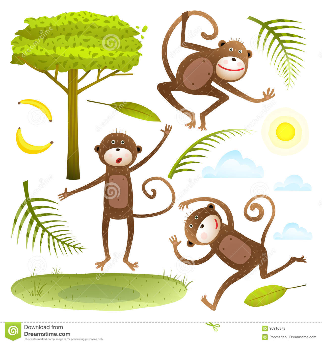 Funny Monkeys Friends With Tree Leaves Sun Clouds Lawn Clip Art.