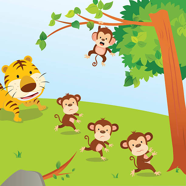 Monkey Swinging From A Tree Clip Art, Vector Images.