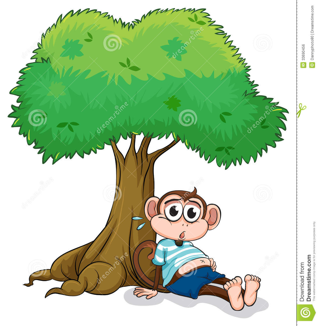 A Monkey Sitting Under A Tree Royalty Free Stock Image.