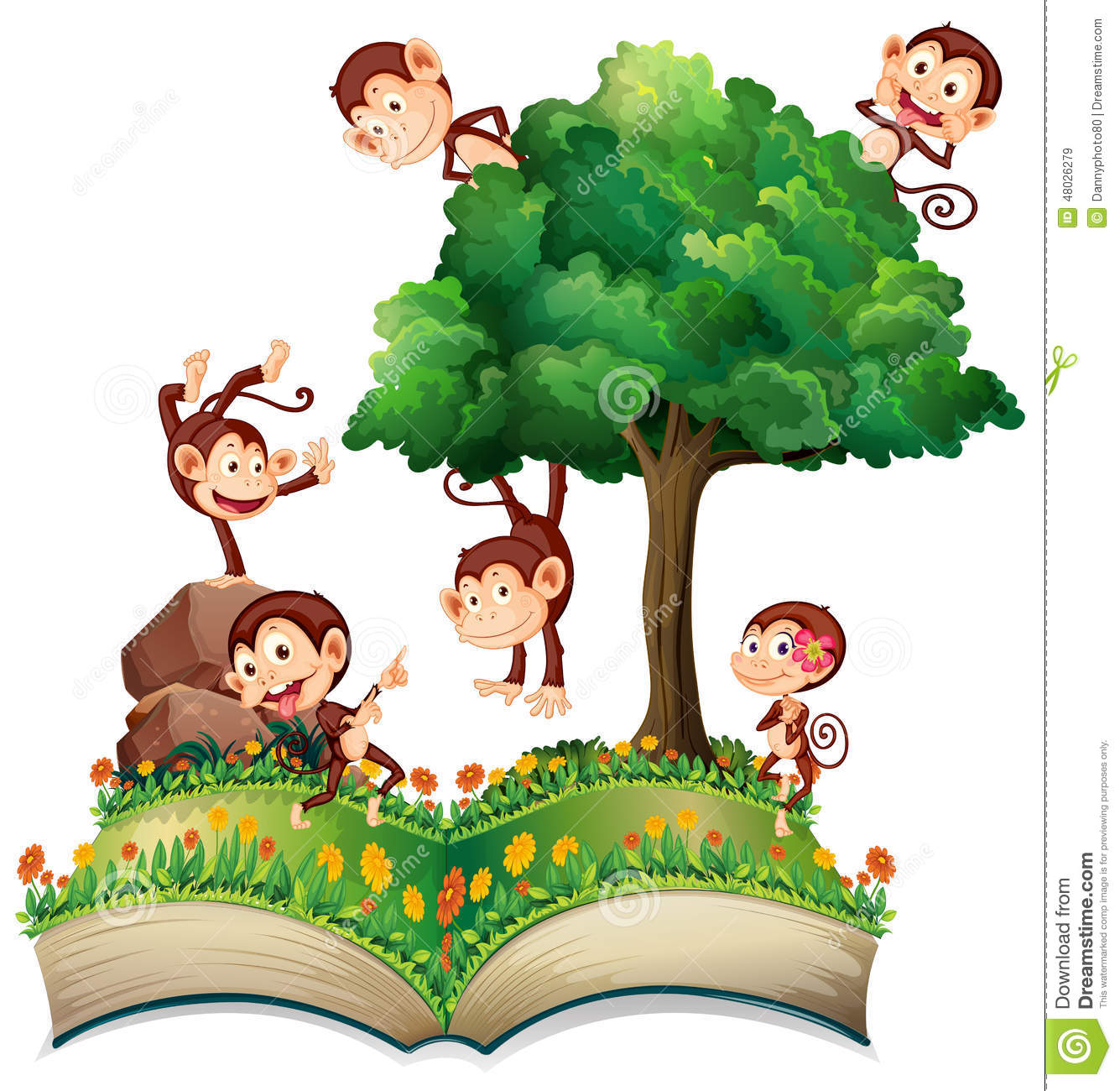 Monkeys And Tree Stock Vector.