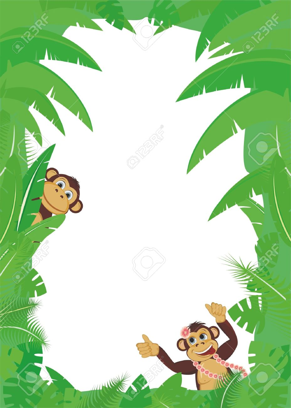 Frame From Tropical Leaf With Two Monkey Royalty Free Cliparts.