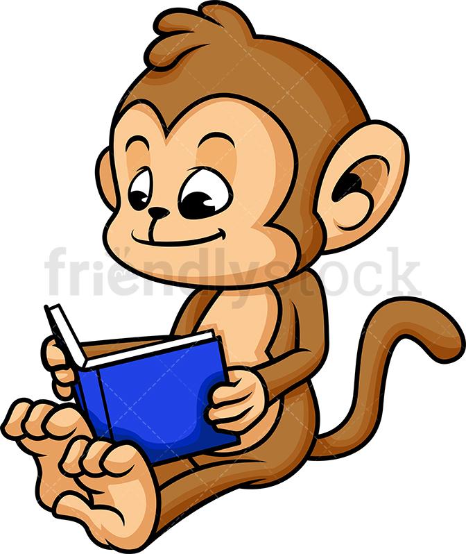 Monkey Reading Book.
