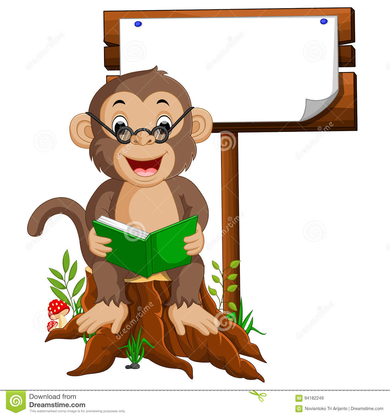 Monkey reading a book stock vector. Illustration of clipart.