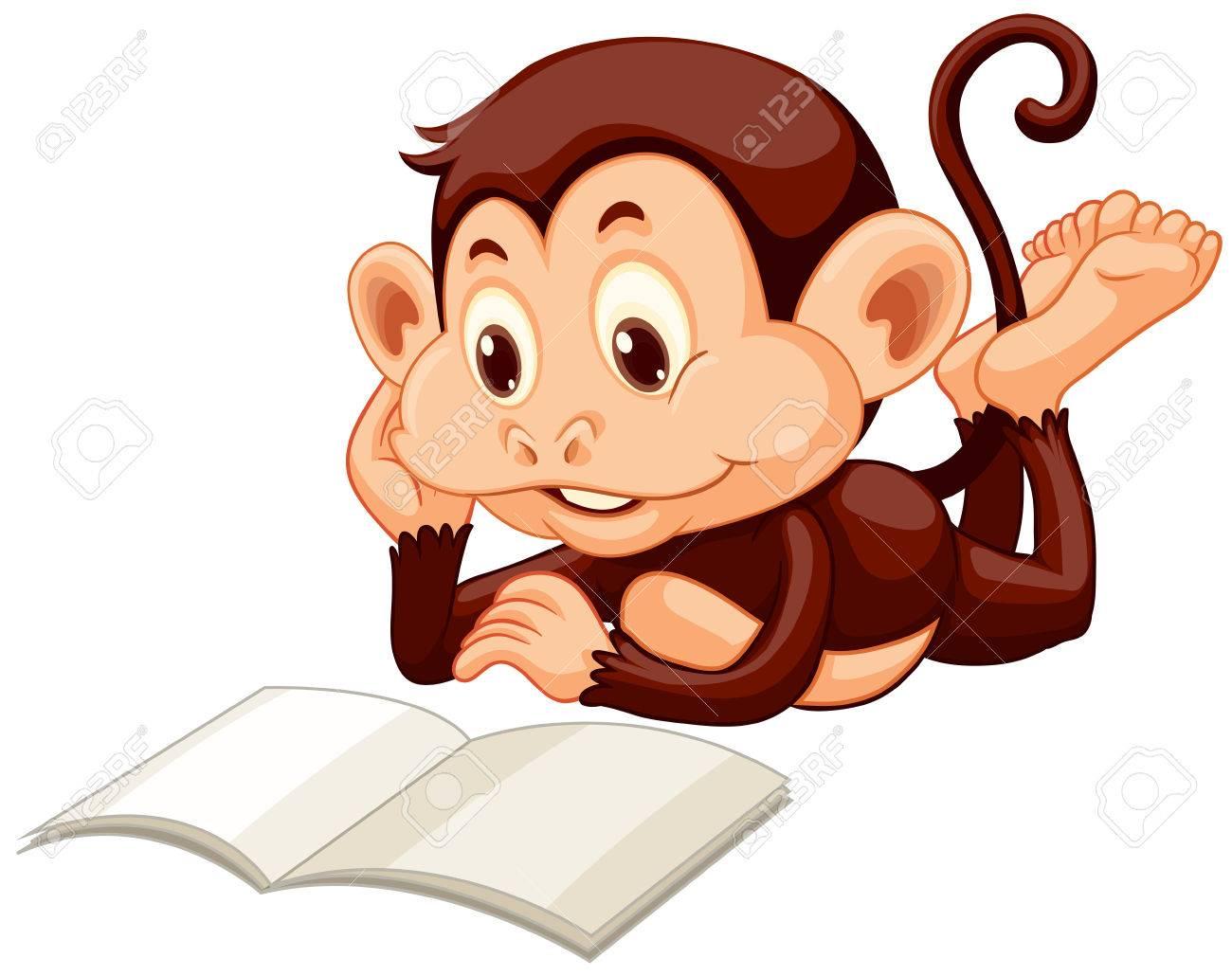 Little monkey reading a book illustration.