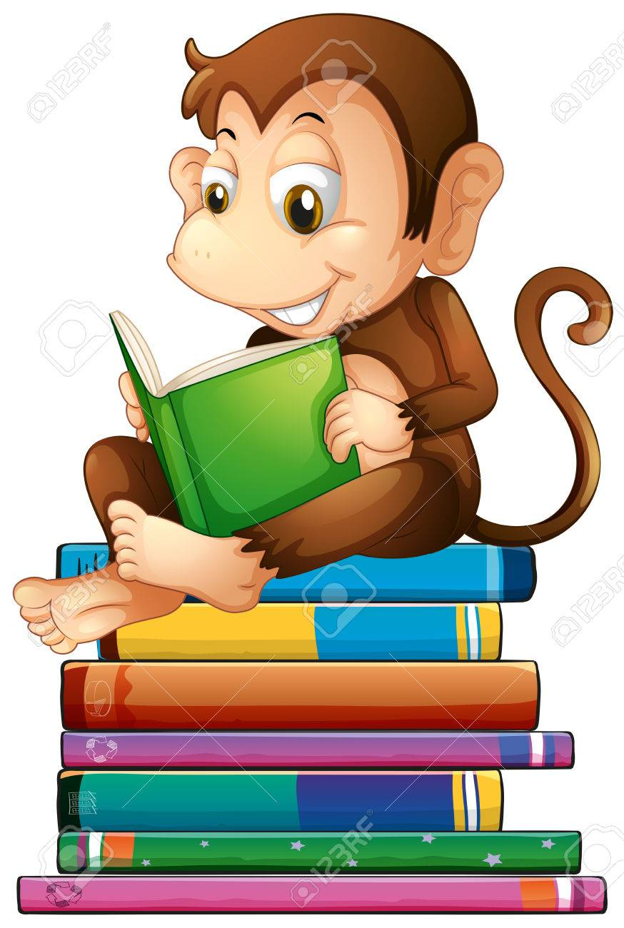 Illustration of a monkey reading a book.