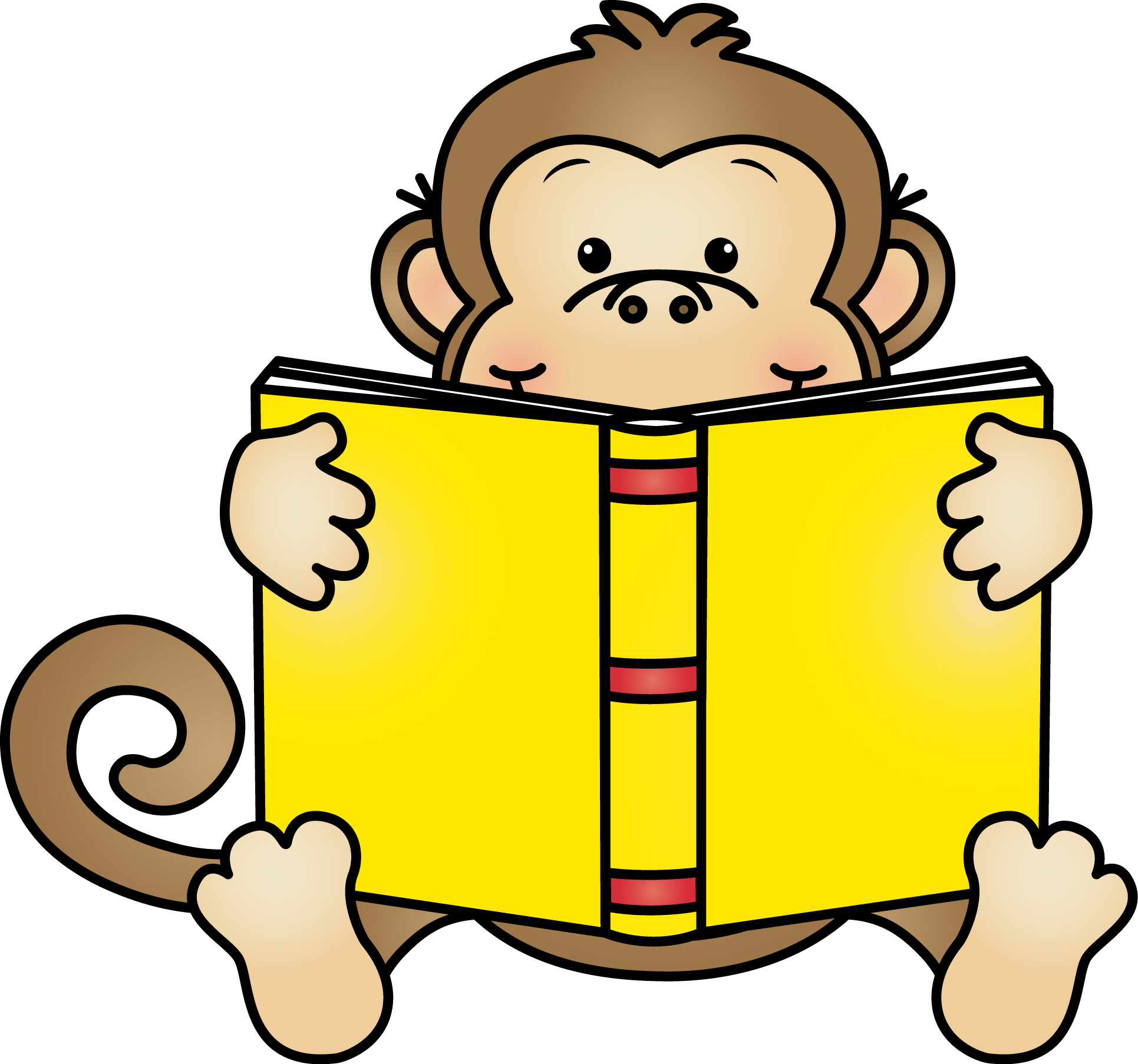 Monkey reading clipart clipart images gallery for free.