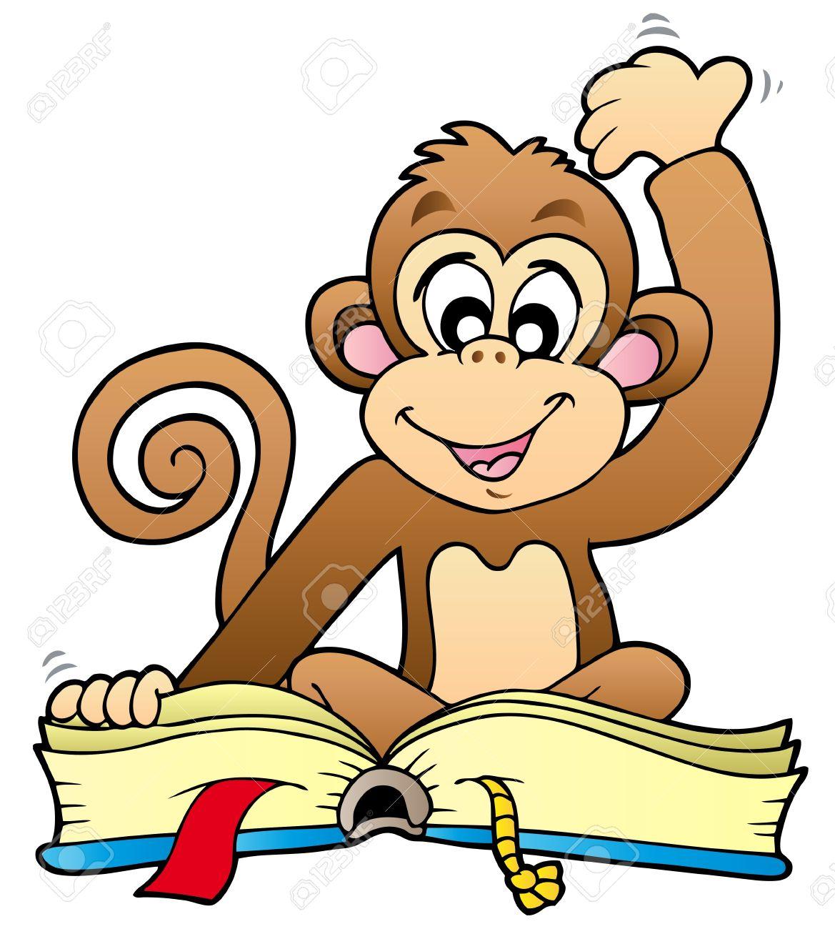Cute monkey reading book.